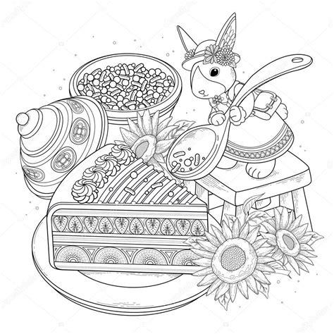 Kleurplaat Konijn Taart kleurplaat konijn taart artismonline nl