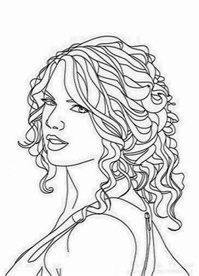 Coloring Swift Taylor Pages Hair Curly Colouring