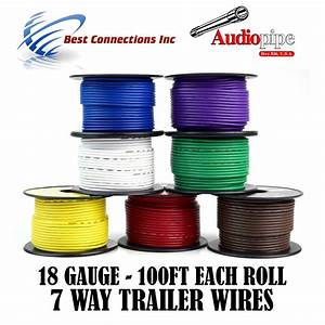 Trailer Wire Light Cable For Harness 7 Way Cord 18 Gauge