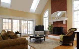 red brick wall for living room fireplace interior design