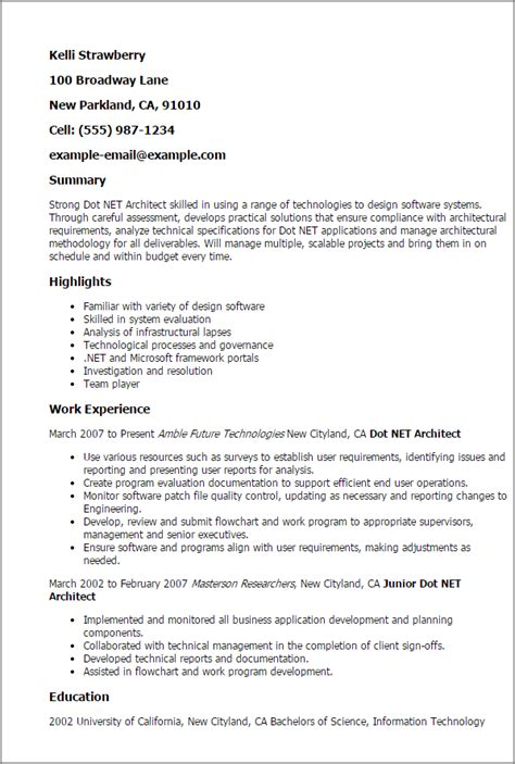 architecture resume template professional dot net architect templates to showcase your