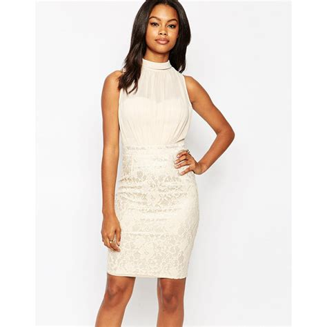 pencil dress with lace skirt nudevotion