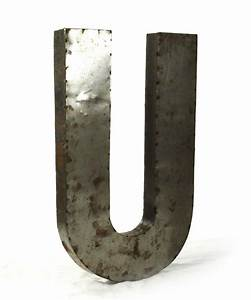 industrial rustic metal large letter u 36 inch kathy kuo With large industrial letters