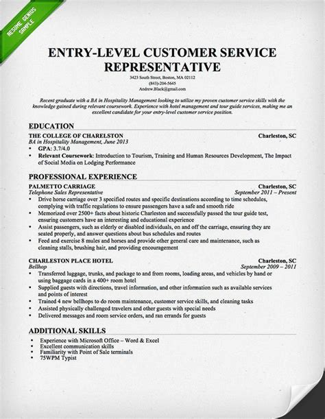 Customer Service Resume Template by Entry Level Customer Service Representative Resume