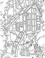 Tree Boomhutten Malvorlage sketch template