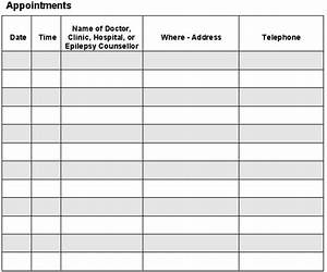 Free printable appointment sheets search results for Appointment log template