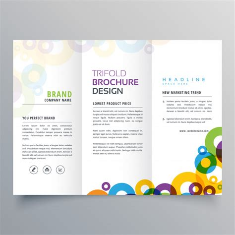 Brochure Design With Trifold Colorful Template Colorful Circles Business Tri Fold Brochure Vector Design