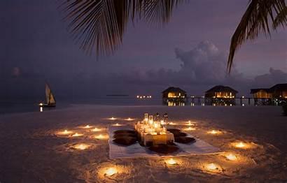 Beach Dinner Candles Evening Romance Boat Ocean