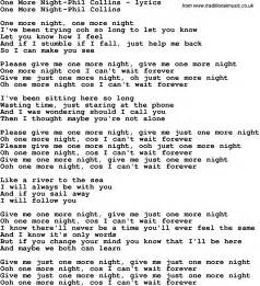 Love Song Lyrics for: One More Night-Phil Collins
