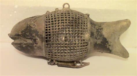 ca  brass metal figural fish bait trap cage decoy