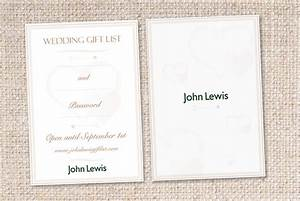 briefboxtm wedding gift list card for john lewis With wedding invitation cards john lewis