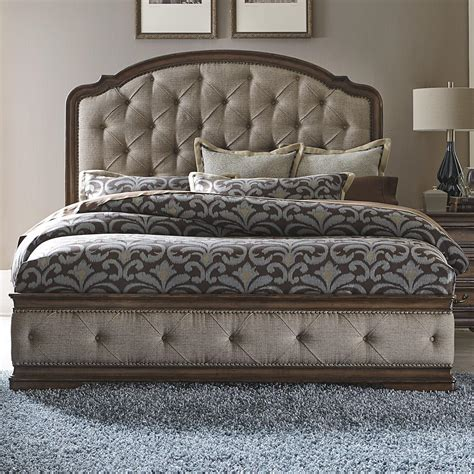 tufted bed king liberty furniture amelia traditional king upholstered bed 2959