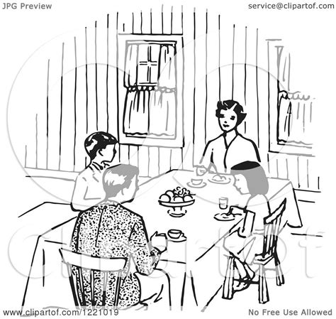 dining room clipart black and white clipart of a black and white happy retro family