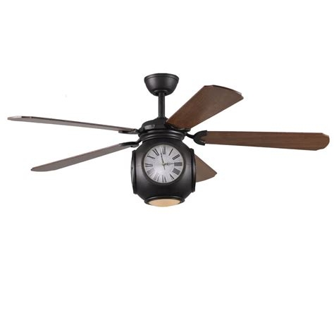 ceiling fans with remote control and light lowes shop harbor breeze rock hall 52 in aged bronze downrod