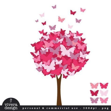 digital clip art  butterfly tree pomegranate pink