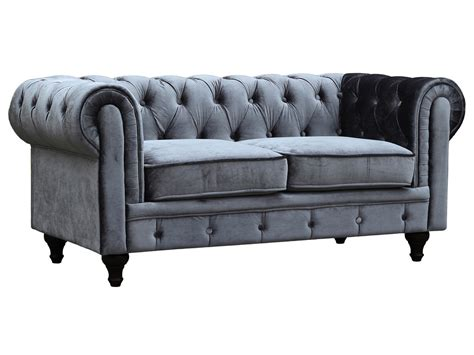 canapé chesterfield gris canapé fixe chesterfield velours quot aliza quot 2 places gris
