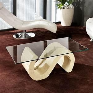 Table Basse De Salon En Pierre Fossile Et Verre Jordan