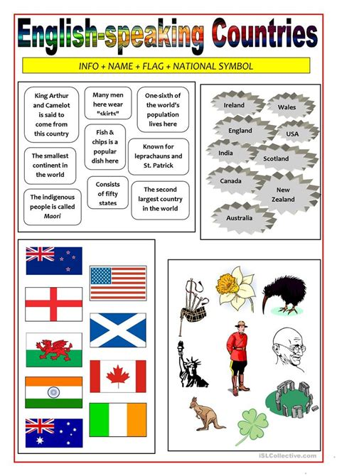 speaking countries matching activity worksheet