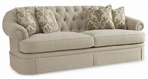 Collection one upholstered oxford tufted skirted sofa for Oxford tufted sectional sofa