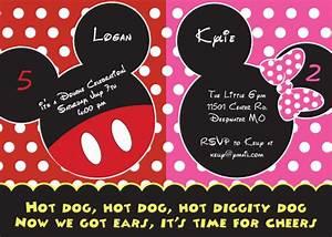 Mickey And Minnie Mouse Birthday Invitations  U2013 Bagvania