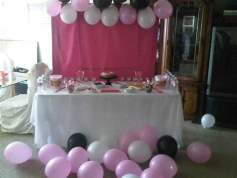 pink  white birthday party table tableware food