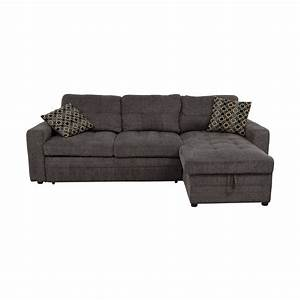 45 off grey tweed twin to full sofabed sectional with for Grey tweed sectional sofa