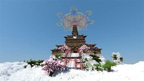 temple   spirit  cherry blossom minecraft building
