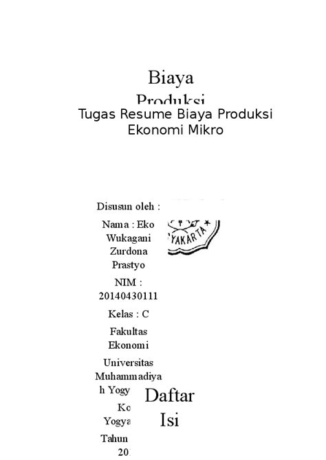 (DOC) Resume Biaya Produksi Ekonomi Mikro | ekowukagani