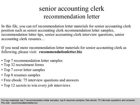 Accounting Clerk Questions by Senior Accounting Clerk Recommendation Letter