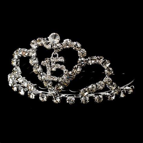 large rhinestone silver covered sweet miniature sweet 15 or 16 tiara hpc 713