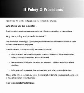 policies and procedures template cyberuse With it policy document template