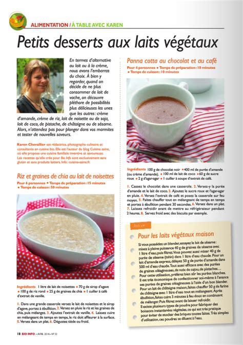 chronique cuisine chronique cuisine sur les laits végétaux dans bio info avril chevallier auteur et
