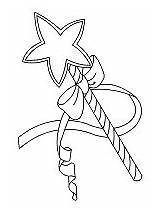 Wand Fairy Star Coloring Pages Fantasy Mythology Medieval Royalty Stars Ws sketch template