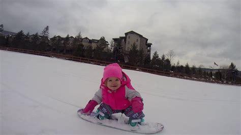 baby snowboarding brinley  year  youtube