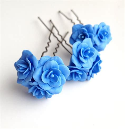 flower hair pin blue flower pin blue flower hair pin bobby pins flower
