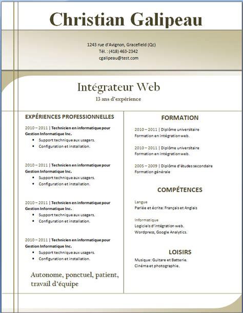 Cv Professionnel Exemple Gratuit by Exemples Et Mod 232 Les De Cv Gratuit 39 224 46 Exemple De Cv