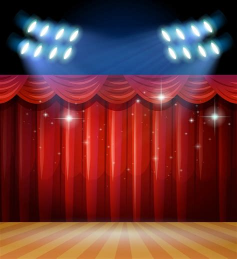 bright floral curtains background with light and curtains on stage