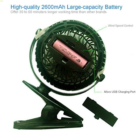 battery operated desk l timeled rechargeable 2600mah battery operated fan clip on