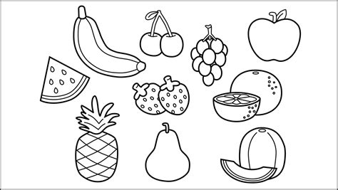 contoh gambar mewarnai buah buahan