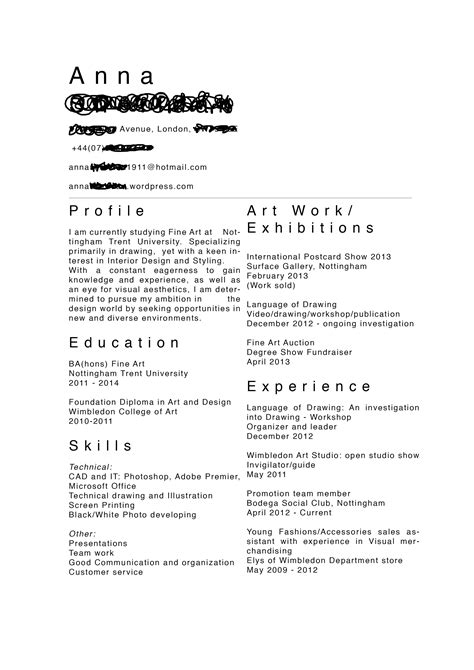 Artist Resume Template by Artist Cv For The Artist Resume Artist Cv