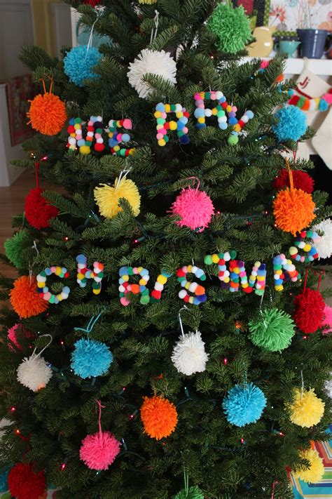 diy pom pom letter ornaments paint the gown red