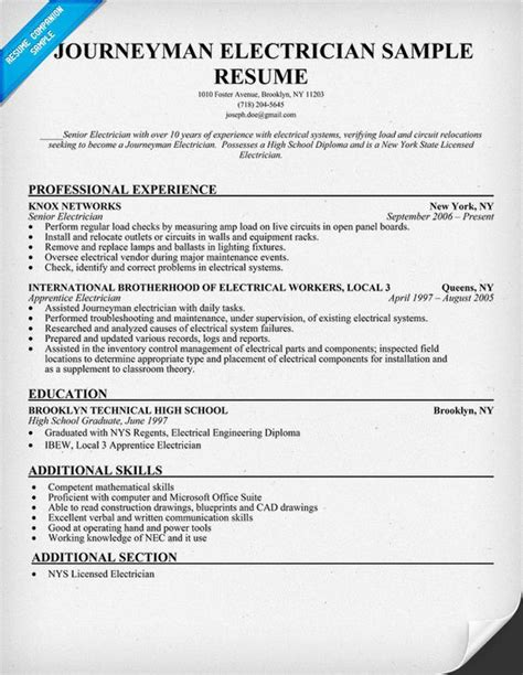Electrician Resumes by Journeyman Electrician Resume Sle Resumecompanion