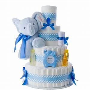 Blue Elephant Diaper Cake for Boys Unique Diaper Cake Gifts