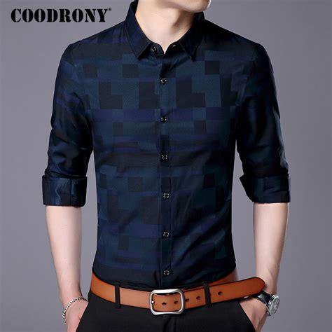 coodrony men shirt mens business casual shirts