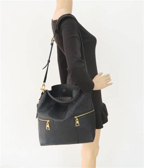 louis vuitton melie  calfskin black monogram empreinte leather hobo bag tradesy