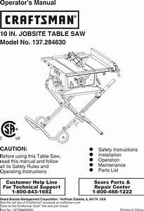Craftsman 137284630 User Manual Table Saw Manuals And