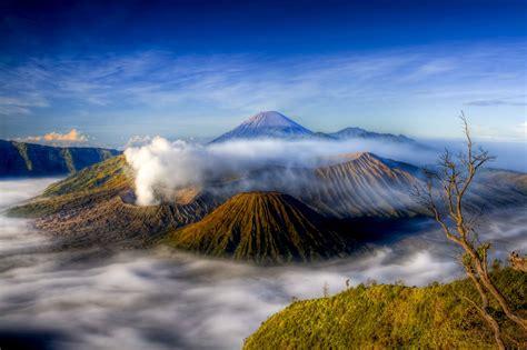 bromo indonesia sunset volcano landscape  wallpaper