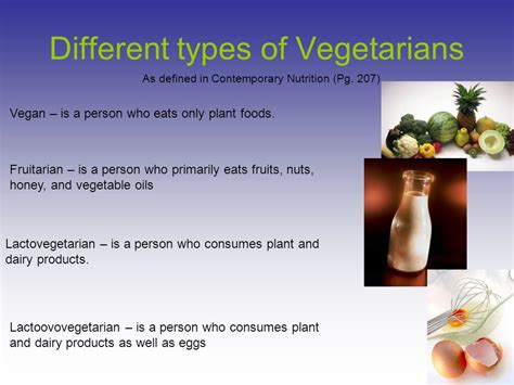 types of vegetarians a powerpoint depicting the vegetarian diet ppt download