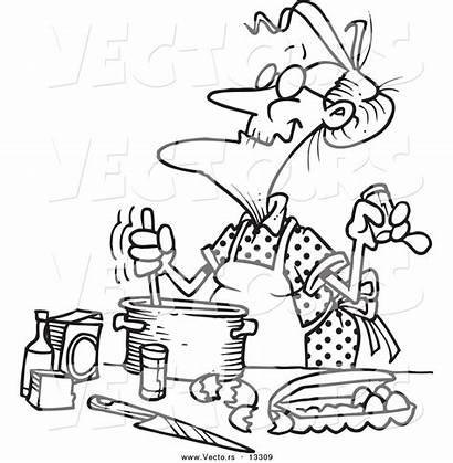Cartoon Coloring Baking Woman Outline Clip Vector