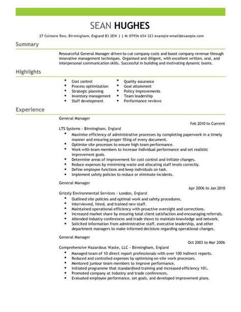 manager resume sample general manager cv example for management livecareer
